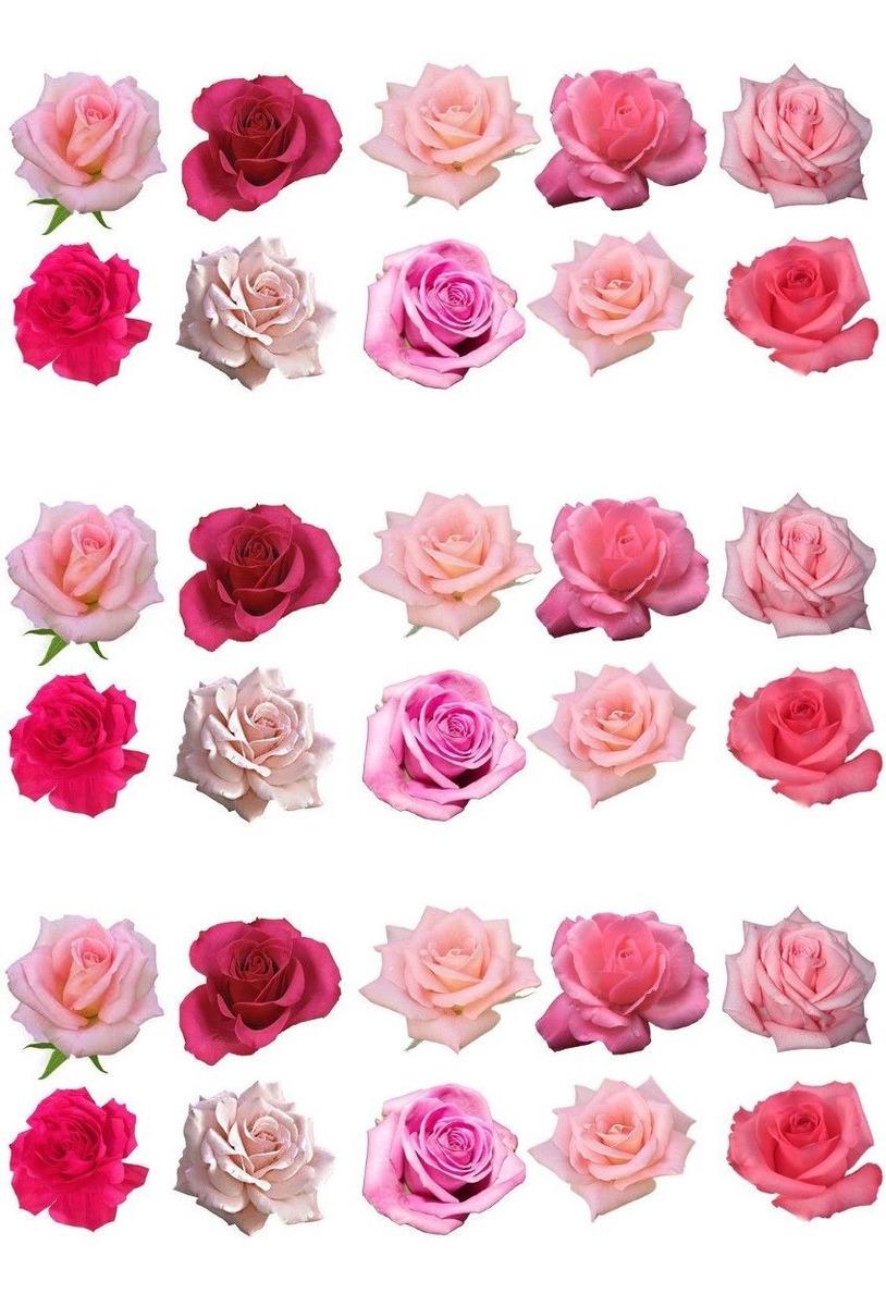 60 Flores Rosas Papel De Arroz Comestivel Decorar Bolos Cupc