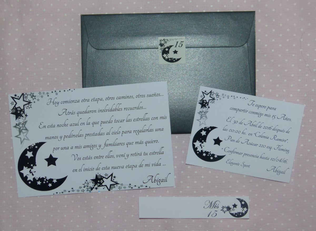 60 Invitaciones Tarjetas Luna Estrellas Blanco Negro 15 Años
