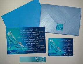 60 Invitaciones Tarjetas Princesas Zapato Castillo Vestido