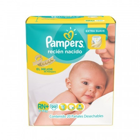 60 pañales pampers extra suave talle rn+ (3 a 6kg)