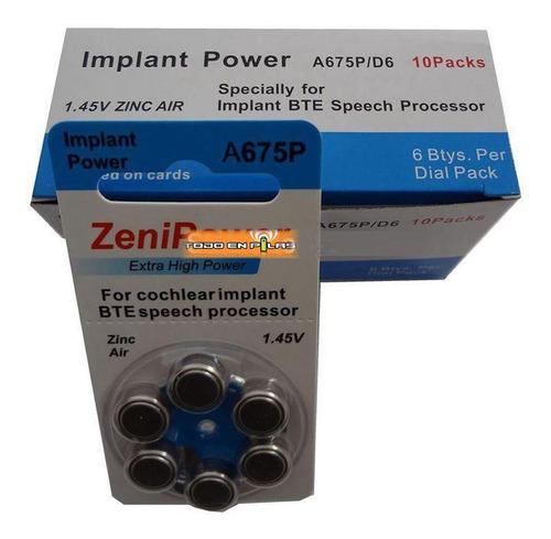 60 pilas para audífono 675 pr44 para implante coclear