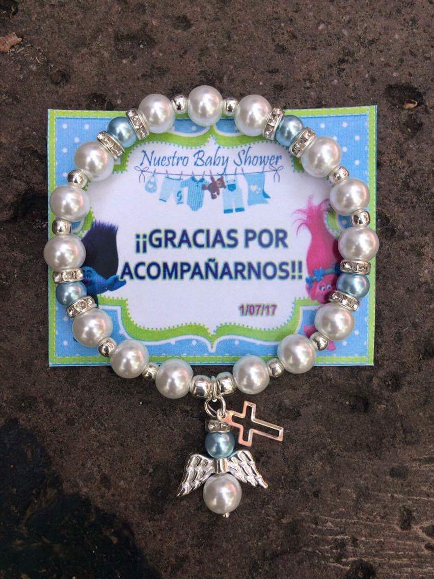 60 Pulseras Llaveros Baby Shower Nino