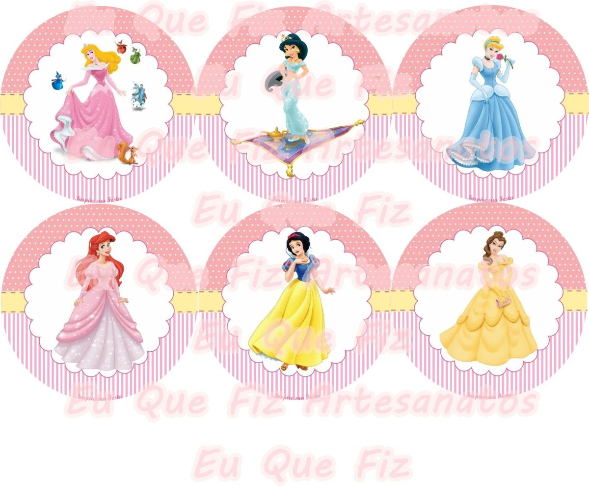 60 Tags Toppers Doces E Cupcakes Princesas Cinderela Jasmine R