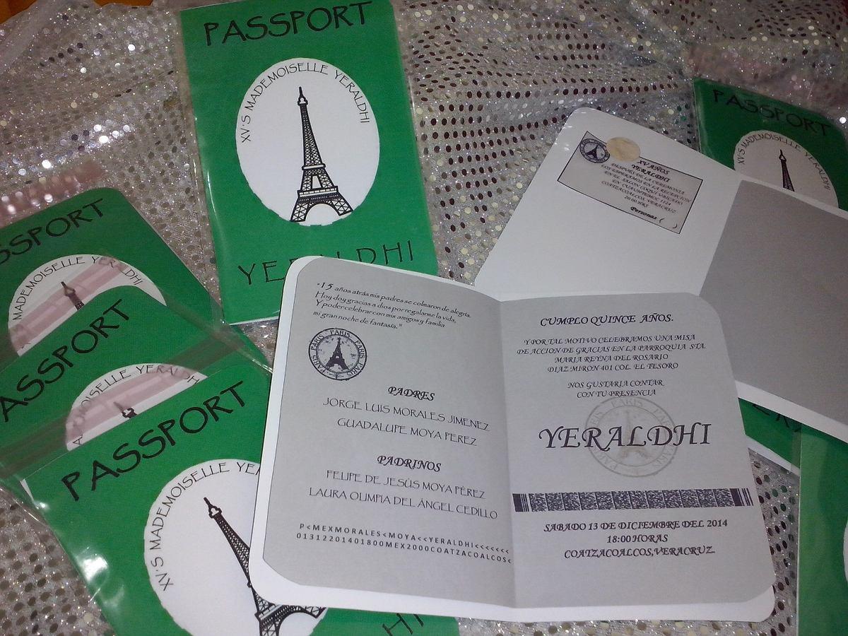 60 Tarjetas Invitacion 15 Años Cumpleaños Modelo Pasaporte