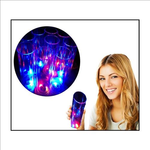 60 vasos trago largo luminosos 3 led c/u y 60 sorbetes