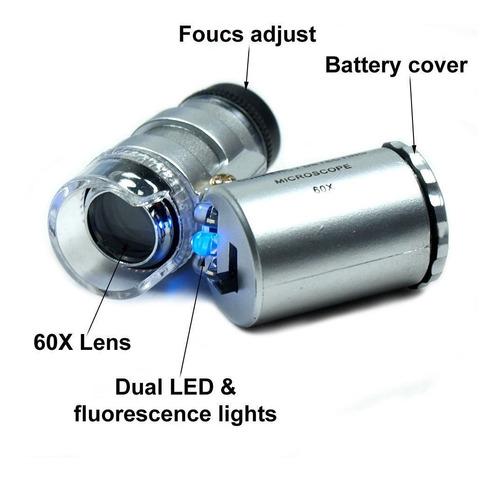 60 x mini mano luz de led cristal bolsillo microscopio joyer