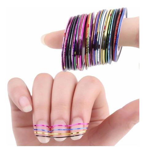 600 rolos fita fio unha decoração nail luxo metalica brinde
