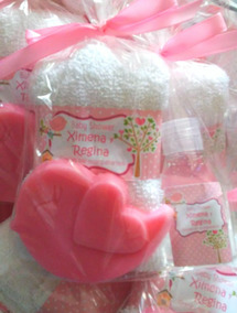 Premios Para Baby Shower Nina.60kit Toalla Facial 1 Jabon Grande 2 Botellas Mini