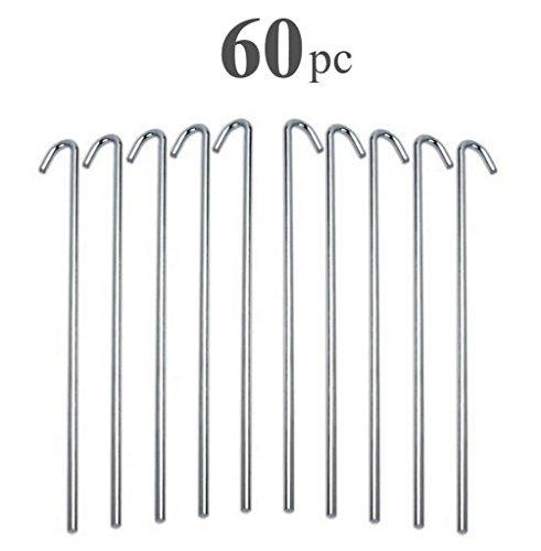 60pc clavijas de tienda de acero galvanizado alazco - estaca