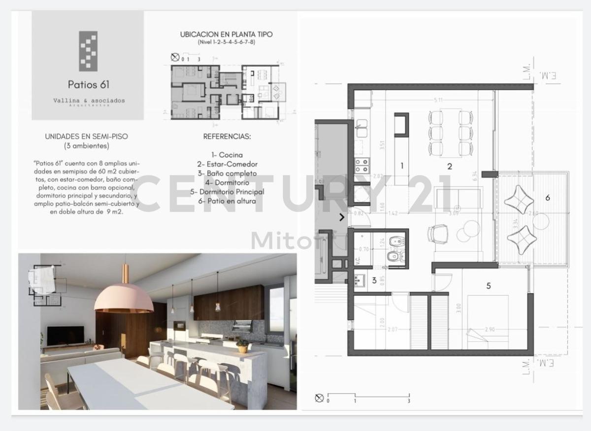 61 entre 1 y 2. venta de semipiso de 2 dormitorios la plata  retasado