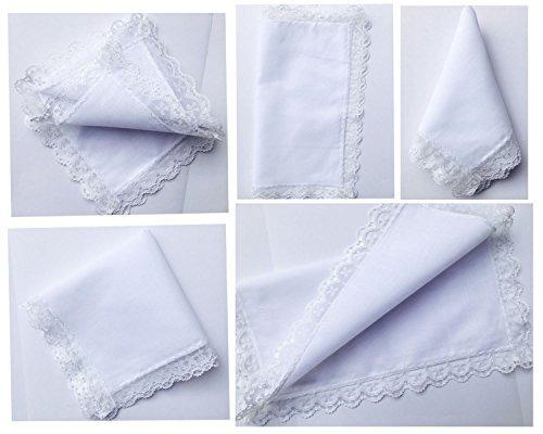6121825 pack de pañuelos blancos de algodón de encaje perf