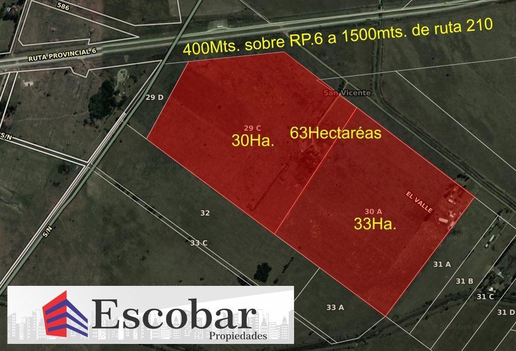 63 hectáreas sobre ruta 6 , juntas o fraccionadas de a 5 hec