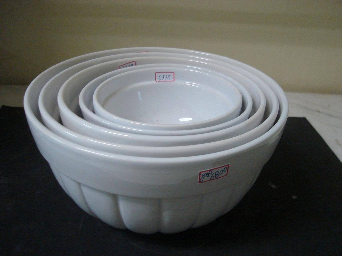 6339 jogo 5 tigelas de porcelana canelada branca r for Marcas de vajillas de porcelana