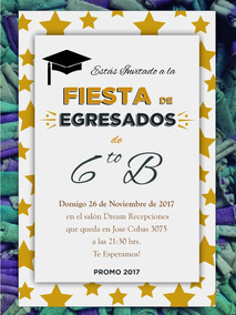 65 Invitaciónes Egresados Graduación Primaria Secundaria