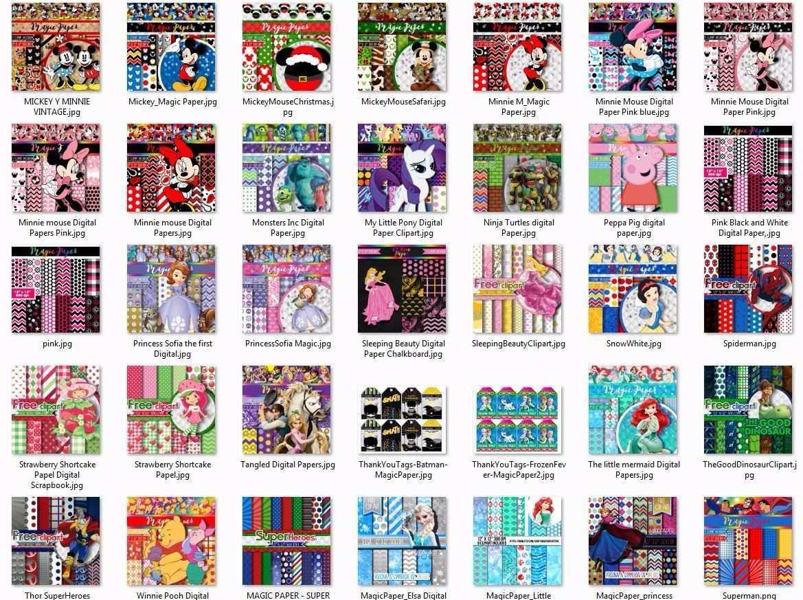 65 Kits Fondos Imprimibles - Personajes - Magic Papers - $ 189.00 en ...