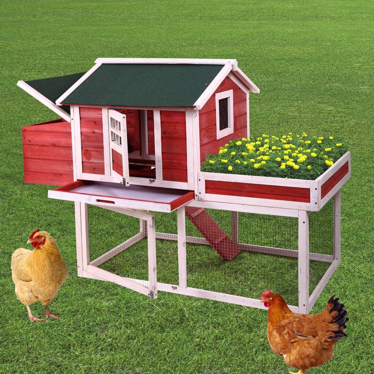 65 pollo de madera casa coop gallinas mascotas animales en mercado libre - Casas para gallinas ...