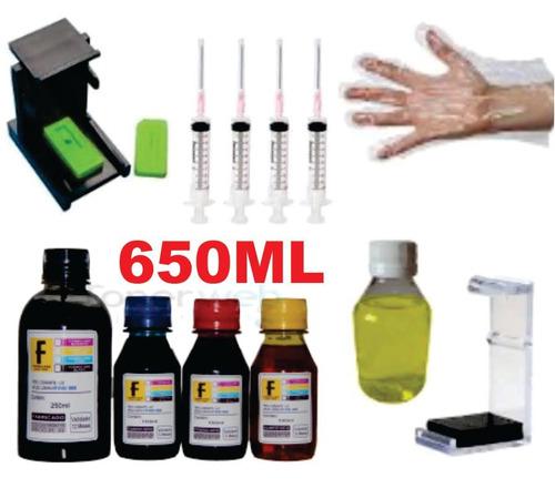 650ml -kit tinta recarga cartuchos impressora hp + snap fill