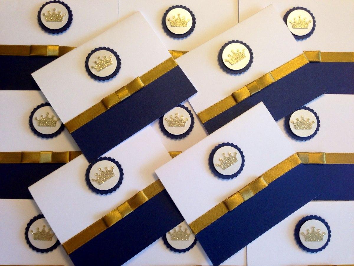 65und Convite Reinado Príncipe Azul Com Dourado Personalizad R