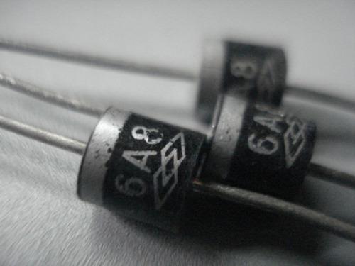 6a8 diodo rectificador original vintage pack con 3