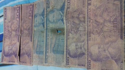 6,billetes antiguos de $100 y $50