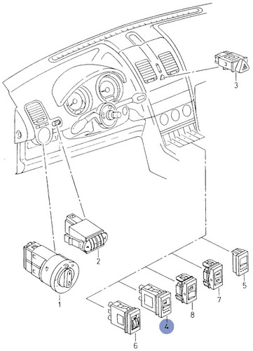 6n0959621b 01c - conmutador vidrio trasero termico - vw polo