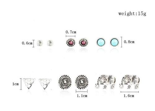 6pairs/sistema moda mujer triángulo retro elefante turquesa