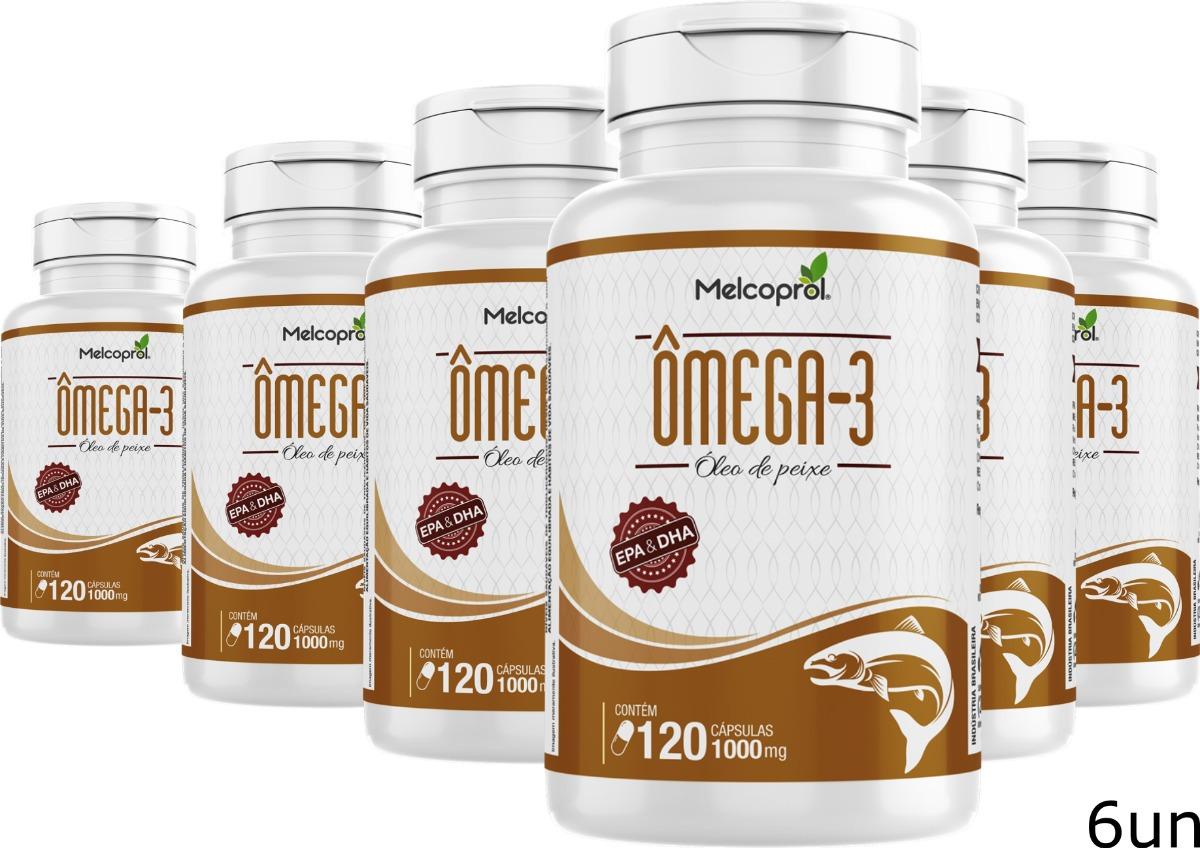 d96797aa62e 6un Omega 3 Oleo Peixe 1000mg 120 Cápsula Dha Epa Melcoprol - R  128 ...