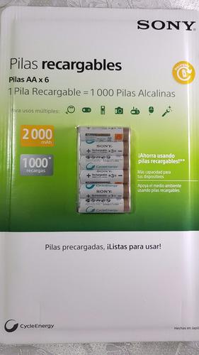 6x baterías pilas aa sony cycleenergy 2000mha +1000 recargas