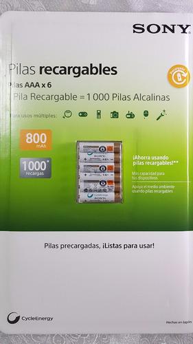 6x baterías pilas aaa sony cycleenergy 800mha +1000 recargas
