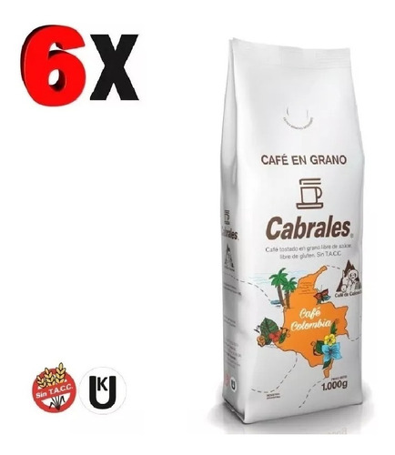 6x cafe grano cabrales colombia 1kg 6kg tostado
