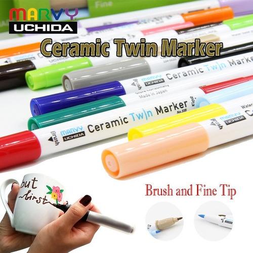 6x caneta marcador porcelana ceramic twin marker verde