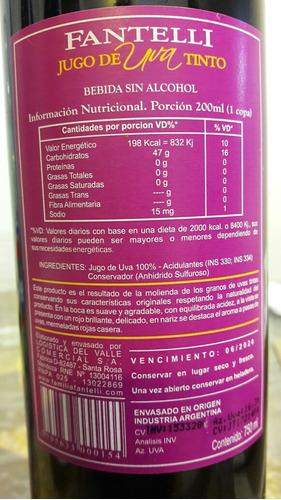6x jugo de uva tinto fantelli simil vino dulce - sin alcohol