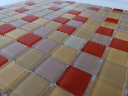 6x malla mosaico decorativa cenefa en vidrio tonos naranja