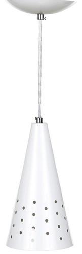 6x pendente cone furado alumínio cores + bulbo led 12w ms598