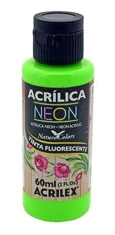 6x tinta acrílica neon acrilex fluorescente luz negra 60 ml