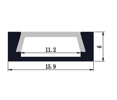 6x1mt perfil aluminio th-1102 cinta led 'rectangular plano'
