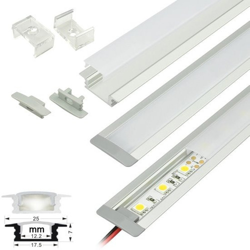 6x1mt perfil aluminio th-1204 cinta led 'plano empotrable'