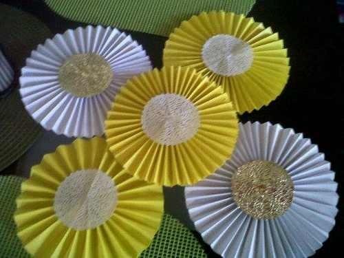 7 abanico roseta flor papel decoraci n boda 15 cumple for Decoracion con abanicos