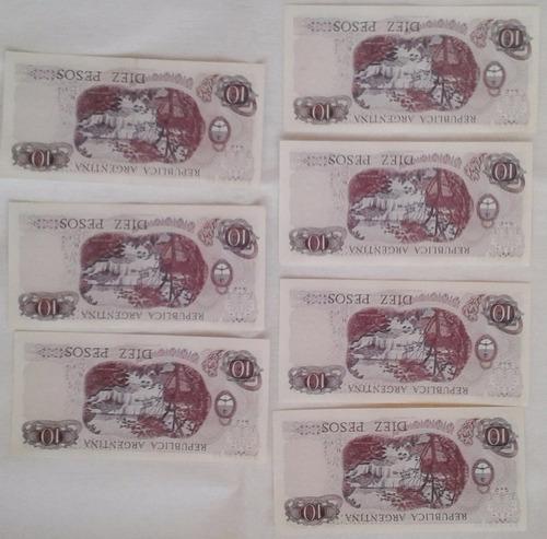 7 billet 10 pesos - argentina 1970 - serie b - s/c y correl