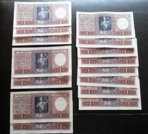 7 billetes de 1 peso moneda nacional  s/c correlativos