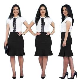9a9c9b9b4ddd Conjunto+saia+e+blusa De Crepe - Calçados, Roupas e Bolsas com o Melhores  Preços no Mercado Livre Brasil