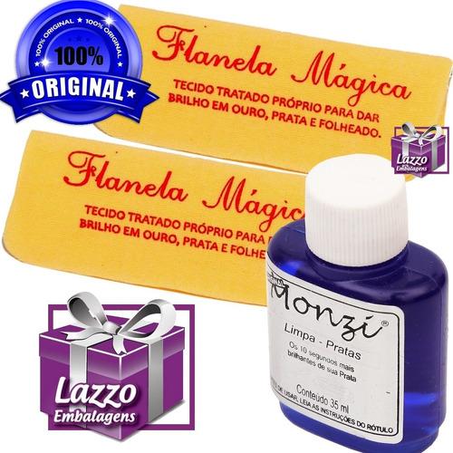 7 frascos de monzi prata 35ml com 7 flanela magica atacado