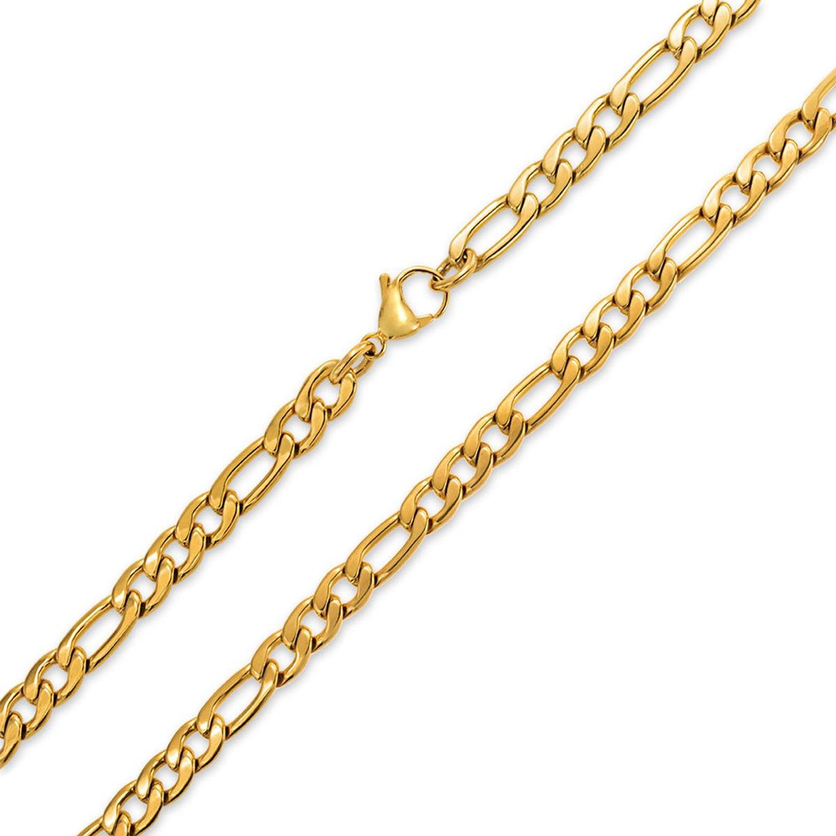 34165ed4cb61 7 mm oro tono de acero acero collar figaro enlace cadena par. Cargando zoom.