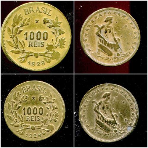 7 moedas brasil rep. 1000 réis -bronze 1924/1931 (raras) l85