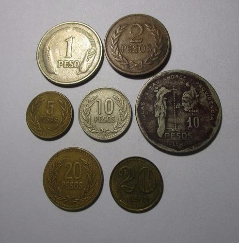 7 moneda colombia 1 2 5 10 20 antigua lote c13