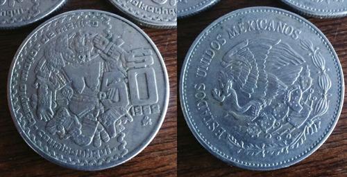 7 monedas antiguas de 50 pesos coyolxauhqui méxico 1982