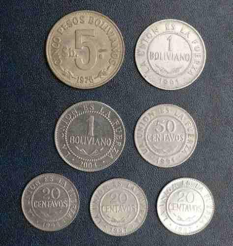 7 monedas bolivia 5 pesos 1 boliviano 20 50 centavos unión