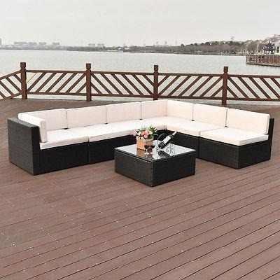7 Pc Patio Rattan Mimbre Muebles Set Secciona - 352032615089 ...