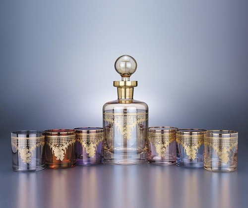 7 peças conjunto de copos de vidro / garrafa de uísque coleç