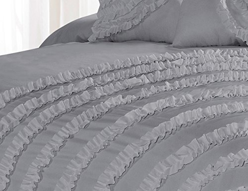 7 Piece Hillary Bed in a Bag Ruffled Comforter Sets Queen King Cal.King Size